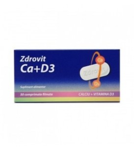 Calciu + vitamina D3, 50 tablete