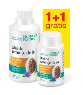 Ulei din seminte de in 1000 mg, 90 + 30 capsule (promotie)