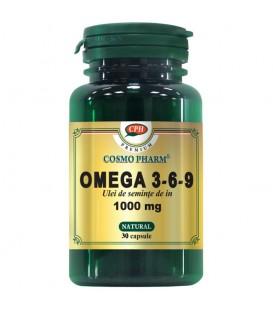 Omega 3-6-9 Ulei de seminte de in 1000mg, 30 capsule