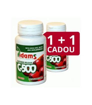 Vitamina C 500 mg cu macese, 30 capsule (1+1 gratis)