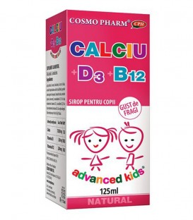 Sirop Calciu + D3 + B12 cu gust de fragi, 125 ml