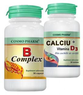 B Complex, 30 capsule + Calciu + Vitamina D3, 30 tablete (promotie)