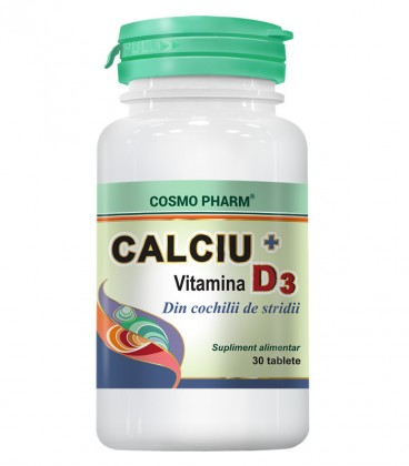 Calciu + Vitamina D3, 30 tablete