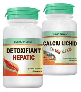 Detoxifiant Hepatic, 30 capsule + Calciu lichid, 30 capsule (promotie)