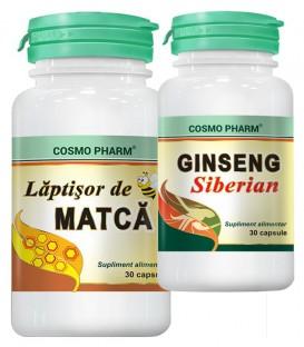 Laptisor de matca, 30 capsule + Ginseng siberian, 30 capsule  (promotie)