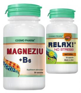 Magneziu + B6, 30 tablete + Relax! No Stress, 10 capsule (promotie)