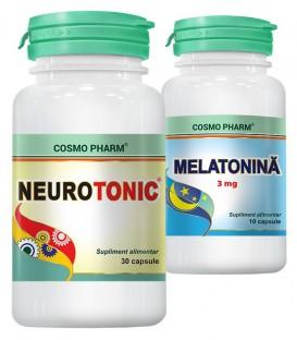 Neurotonic, 30 capsule + Melatonina 3 mg, 10 capsule (promotie)