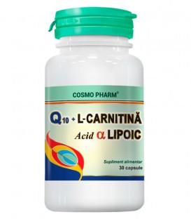 Q10 Gel + L−Carnitina + Acid alfa lipoic, 30 capsule
