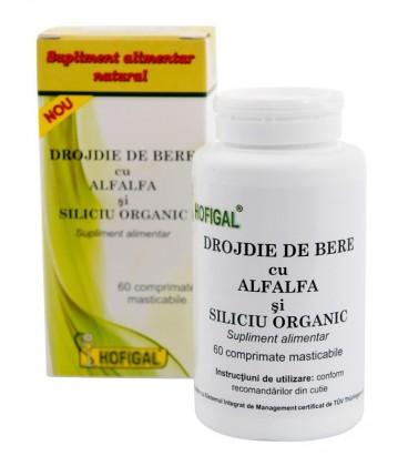 Drojdie de bere cu AlfAlfa si Siliciu organic, 60 comprimate