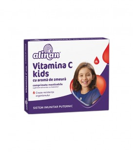Alinan Vitamina C Kids Zmeura, 20 comprimate
