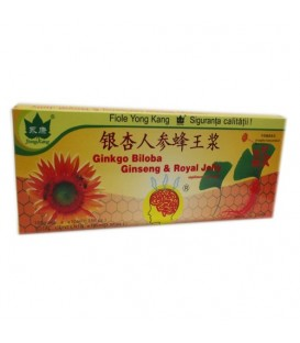 Ginkgo biloba, Ginseng & Royal Jelly, 10 fiole x 10 ml