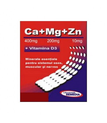 CA+MG+ZN +Vitamina D3, 20 doze