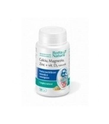 Calciu -Magneziu-Zinc+Vitamina D2 Natura, 30 capsule